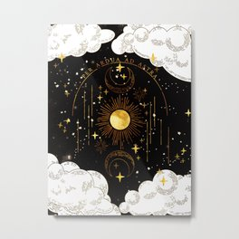 Per Ardua Ad Astra |Sun, Moon and Stars |Divine Witchy Aesthetic Print Metal Print