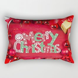 4k Merry Christmas red balls red background gifts Christmas xmas decorations Merry Xmas Rectangular Pillow