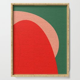 Abstract Composition in Red and Green Serving Tray