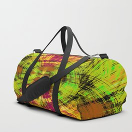 vintage psychedelic abstract pattern in green pink brown yellow Duffle Bag