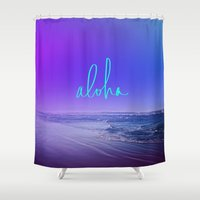 aloha Shower Curtains featuring Aloha by Leah Flores