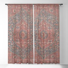 Persian Joshan Old Century Authentic Colorful Red Rusty Blue Vintage Rug Pattern Sheer Curtain