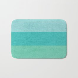 three stripes - teal Bath Mat