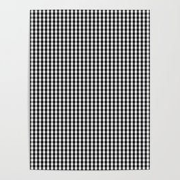 Classic Small Black & White Gingham Check Pattern Poster