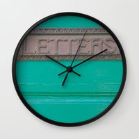 letters Wall Clocks featuring Letters by Riot Jane