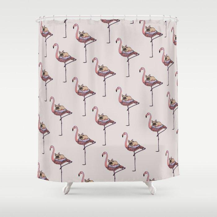 Flamingo and French Bulldog Shower Curtain