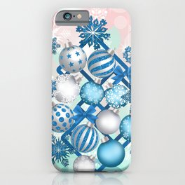 Blue white Christmas balls on square background iPhone Case
