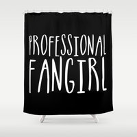 fangirl Shower Curtains featuring Professional fangirl inverted by bookwormboutique