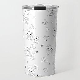 Cute Doodle Elephant Ink Art Travel Mug