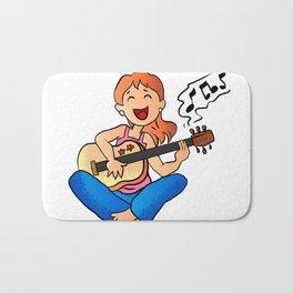 girl playing guitar cartoon Bath Mat