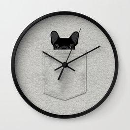 Pocket French Bulldog - Black Wall Clock