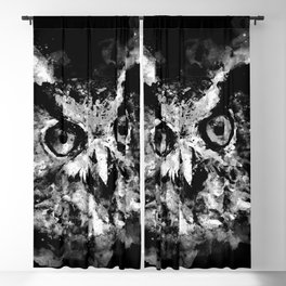 owl perfect black white Blackout Curtain