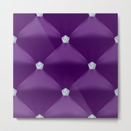 Abstract Purple Quilted Pattern with Little Diamonds Metal Print