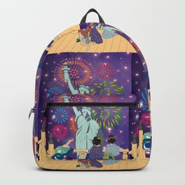 Hokusai People Seeing Statue of Liberty & Fireworks in Universe Backpack