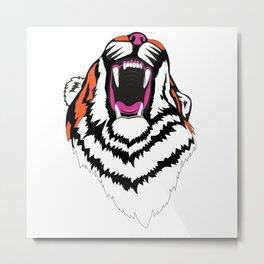Roaring Tiger - Orange Metal Print