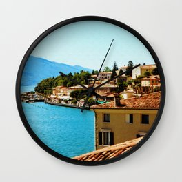 Limone Sul Garda Lake Garda Italy photo painting  Wall Clock