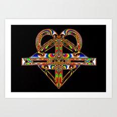 Electric Geometry Mask Art Print
