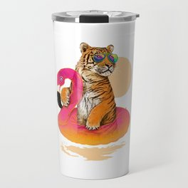 Chillin, Flamingo Tiger Travel Mug