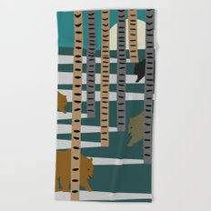 Bears walking in the forest Beach Towel