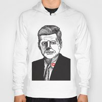 jfk Hoodies featuring JFK by Parker Nugent Illustration