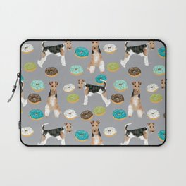 Wire Fox Terrier donuts dog pattern dog lover gifts for dog person dog breeds pet friendly Laptop Sleeve