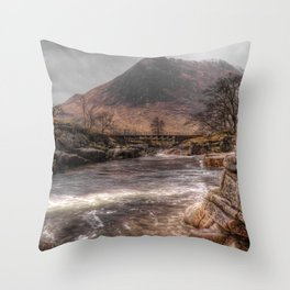 Bridge over the River Etive Throw Pillow