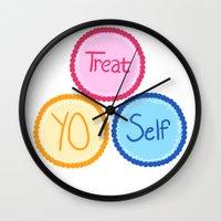treat yo self Wall Clocks featuring Treat Yo Self by Abby Mitchell