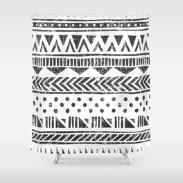 Mayan Pattern - Seamless tribal texture. Primitive geometric background in grunge style illustration Shower Curtain