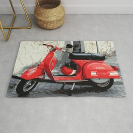 Red Scooter in Italy Rug