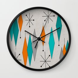 Mid-Century Modern Diamond Pattern Wall Clock