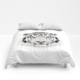 White Tiger Head Comforters