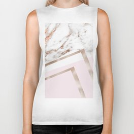 Geometric marble - luxe rose gold edition I Biker Tank