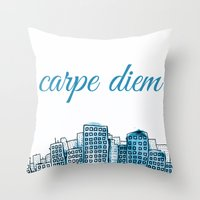 carpe diem Throw Pillows featuring Carpe Diem by Mankind Design