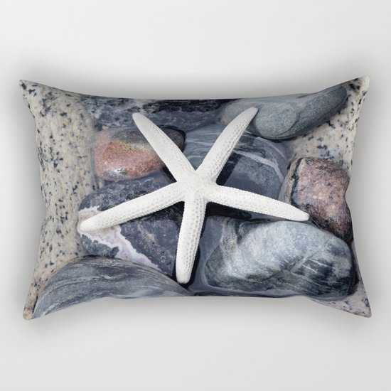 Starfish and pebble on beach Rectangular Pillow