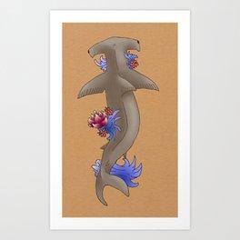 Floral Hammerhead Shark Tattoo Art Print