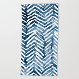 Boho Blue Shibori Tribal Pattern Beach Towel