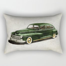 Retro car - American classics. Green antique automobile over hatched background. Rectangular Pillow
