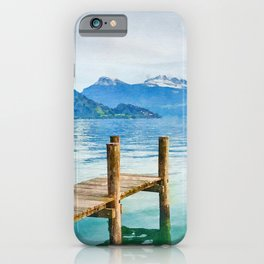 Pier on the lake watercolor painting  iPhone Case