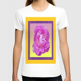 Yellow-Purple-Golden Abstract Purple-Pink Peony Flower Optical Art T-shirt