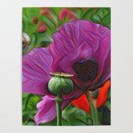 DeepDream Flowers, Poppy, DeepDream style Poster