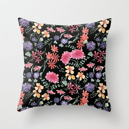 Bright flowers on a black background. Throw Pillow