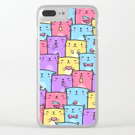 Colored Cats Clear iPhone Case