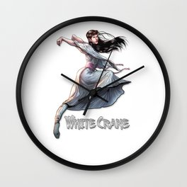 White Crane Comic Kung Fu Girl tshirt cute martial arts gift Wall Clock