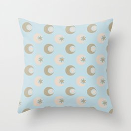 Moon + Star Pattern Throw Pillow