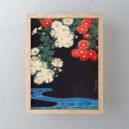 Ohara Koson Chrysanthemums and Running Water 1931 Japanese Woodblock Print Vintage Historical Framed Mini Art Print