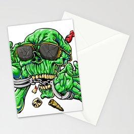 handcuffed zombie cartoon Stationery Cards