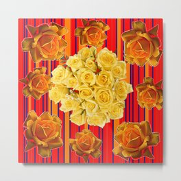 DECORATIVE YELLOW ROSES RED STRIPE PATTERN COLLAGE Metal Print