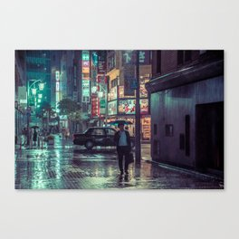 The Smiling Man // Rainy Tokyo Nights Canvas Print