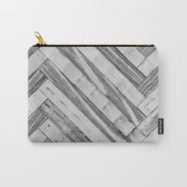 Vintage Diagonal Design //Black and White Wood Accent Decoration Hand Scraped Design Carry-All Pouch