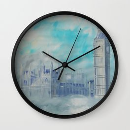 London Palace of Westminster S050 Large impressionism acrylic painting art by artist Ksavera Wall Clock